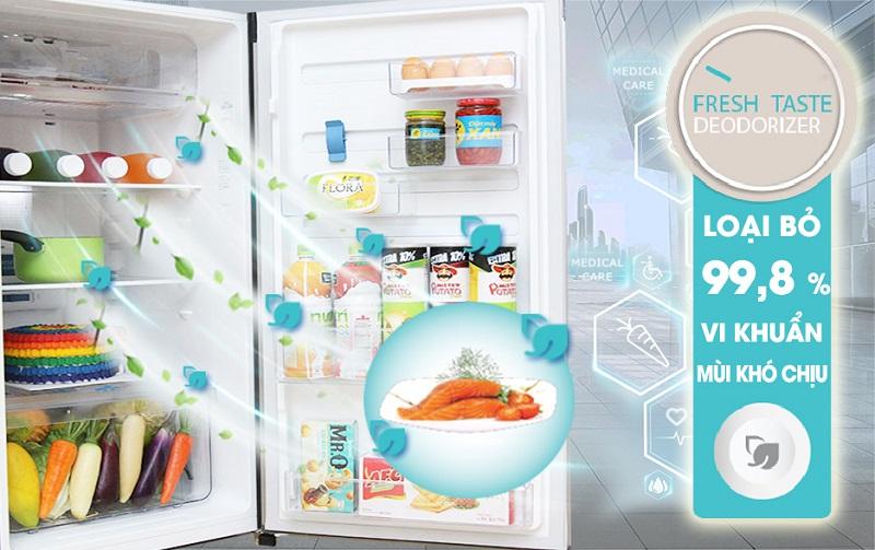 Đánh bại hết tất cả những vi khuẩn, nấm mốc khó chịu cùng mùi hôi trong tủ lạnh, công nghệ FreshTaste đảm bảo giữ được thực phẩm thêm tươi ngon và hấp dẫn