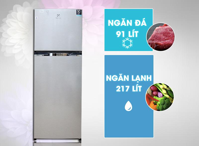 Sở hữu dung tích 318 lít, tủ lạnh Electrolux ETB3200MG phù hợp cho những gia đình có từ 5 đến 7 người