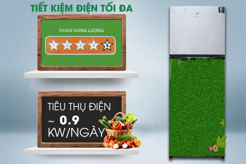 Bên cạnh đó, nó còn tiết kiệm hơn 37% điện năng, để tủ lạnh Electrolux ETB3200MG chỉ tiêu thụ 0.9 kW điện mỗi ngày
