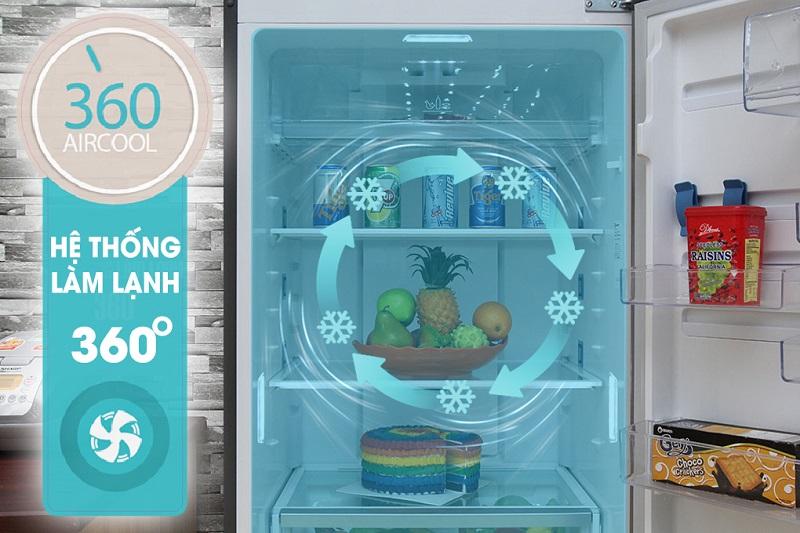 Với công nghệ làm lạnh 360 độ, tủ lạnh Electrolux ETB4602AA sẽ đảm bảo luồng khí mát luân phiên tại các ngăn