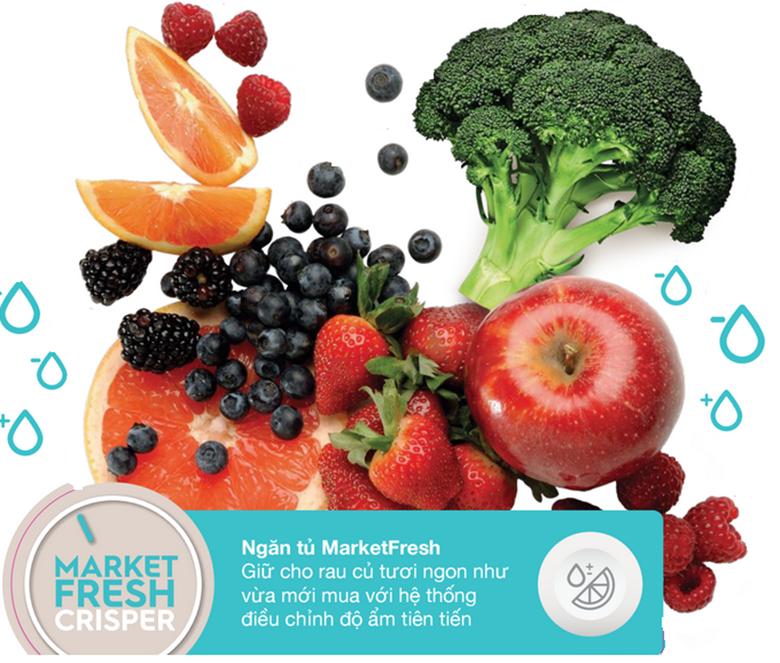 Ngăn Market Fresh sẽ đảm bảo rằng rau củ luôn được giữ độ ẩm thích hợp