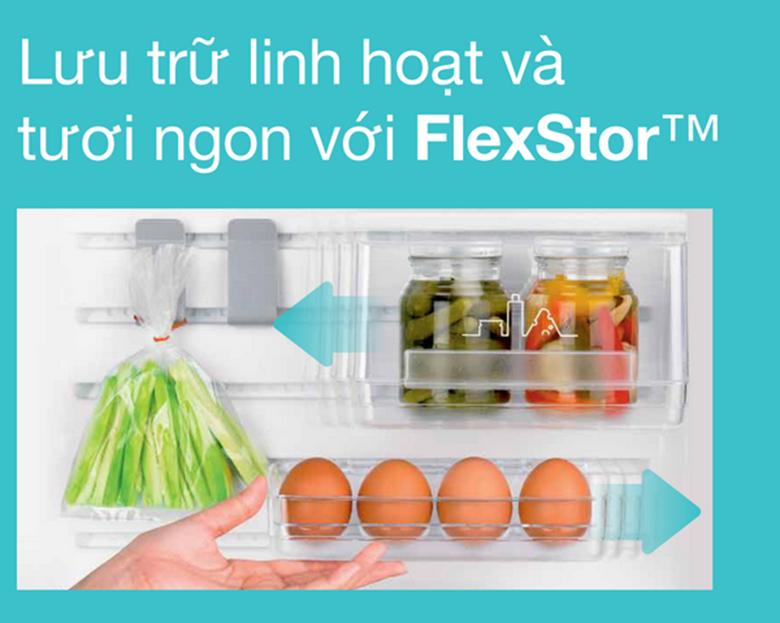 Với FlexStor, các khay trên khung cửa như khay trứng, có thể được di chuyển qua lại dễ dàng