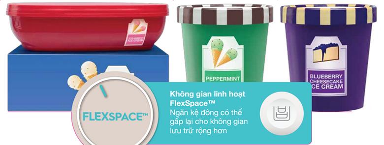 Không gian lưu trữ linh hoạt FlexSpace sẽ giúp cho tủ lạnh Electrolux 283 lít EME2600MG có thêm diện tích sử dụng