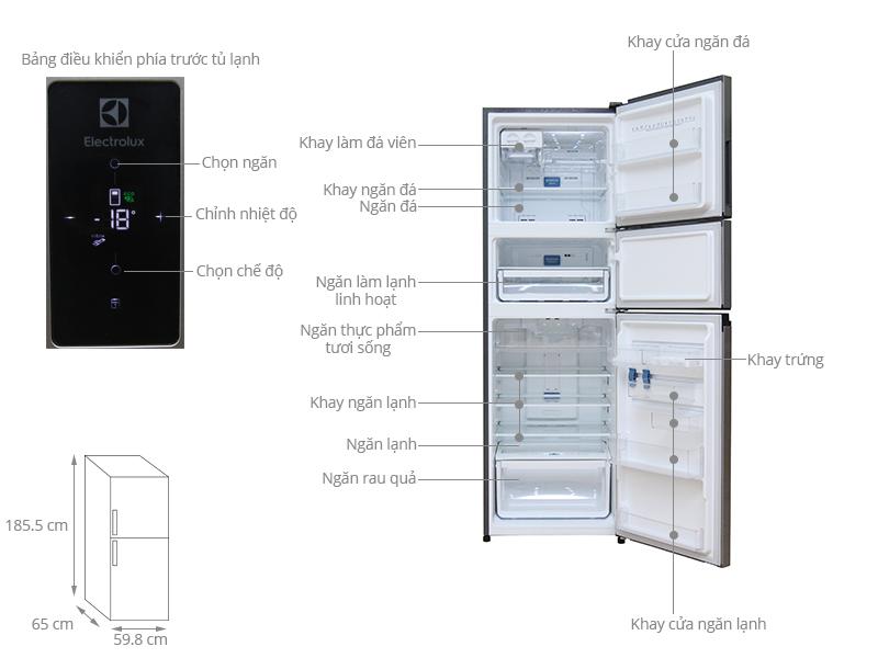 Thông số kỹ thuật Tủ lạnh Electrolux 342 lít EME3500MG