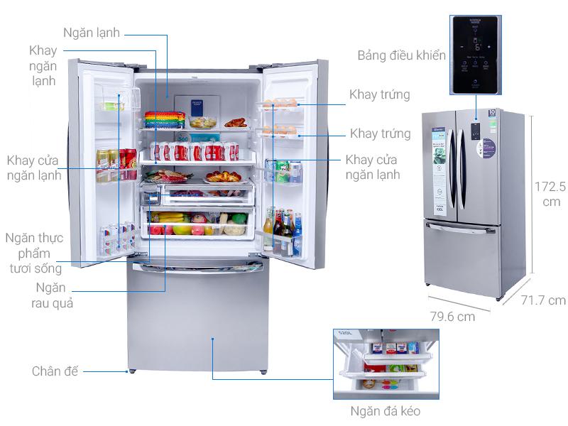 Thông số kỹ thuật Tủ lạnh Electrolux Inverter 474 lít EHE5220AA