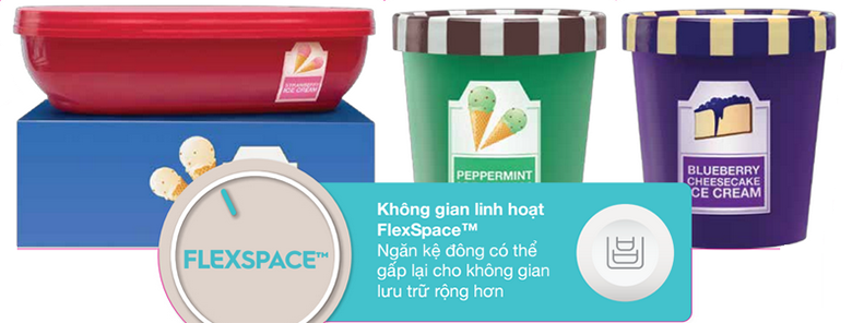 FlexSpace góp phần tăng diện tích sử dụng được cho tủ lạnh Electrolux 524 lít EHE5220AA