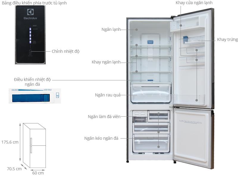 Thông số kỹ thuật Tủ lạnh Electrolux 343 lít EBE3500AG