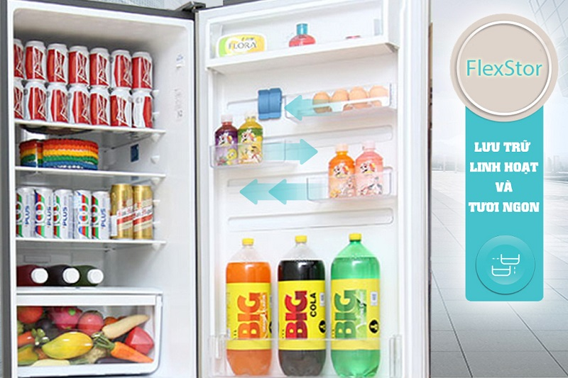 Tủ lạnh Electrolux EBE3500AG với ngăn kệ FlexStor có thể linh hoạt di chuyển được để bạn sắp xếp thực phẩm được dễ dàng hơn