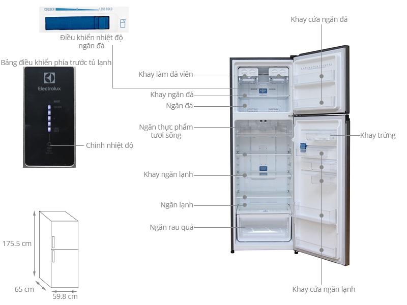 Thông số kỹ thuật Tủ lạnh Electrolux Inverter 349 lít ETE3500AG