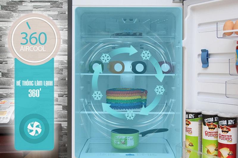 Hệ thống làm lạnh 360 độ của tủ lạnh Electrolux ETB3202MG giúp luồng khí luôn được tỏa đều trong các ngăn đựng thực phẩm