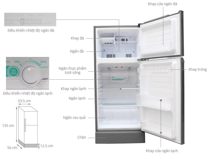 Thông số kỹ thuật Tủ lạnh Sharp 180 lít SJ-194E-BS