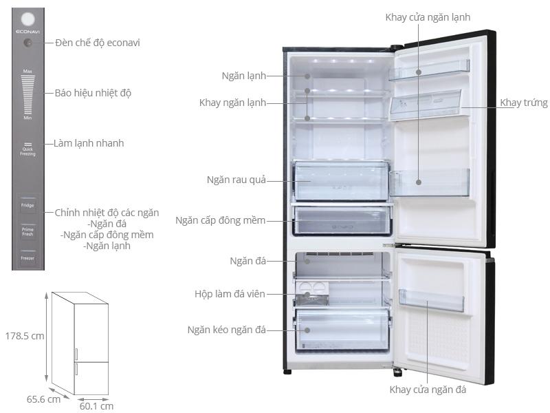 Thông số kỹ thuật Tủ lạnh Panasonic 322 lít NR-BV368GKVN