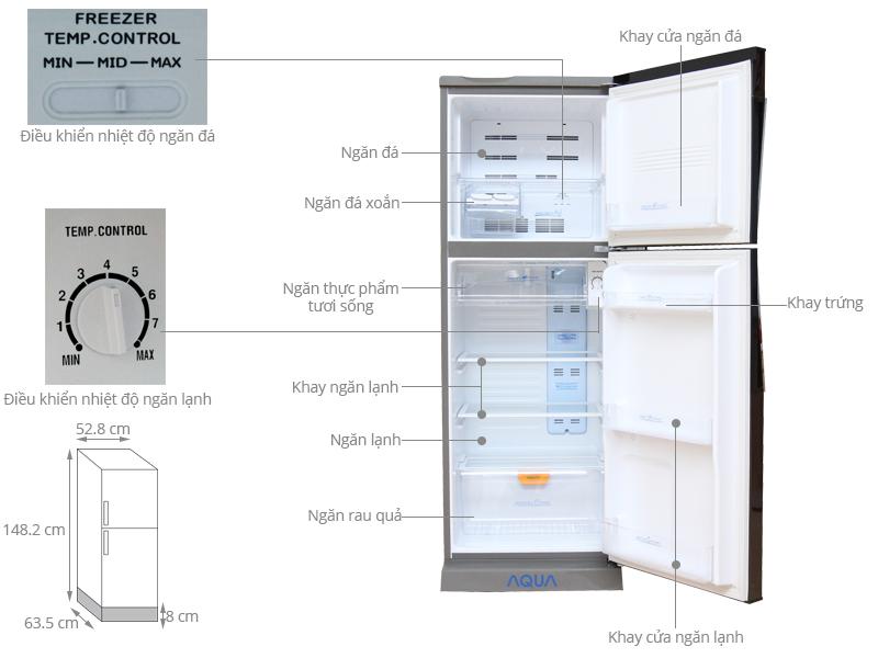 Thông số kỹ thuật Tủ lạnh Aqua 228 lít AQR-P235BN DC