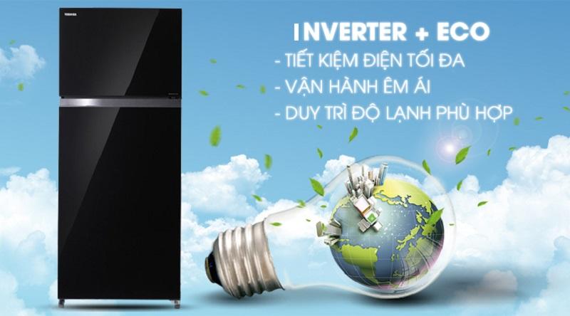 Công nghệ Inverter + Eco mode tiết kiệm điện - Tủ lạnh Toshiba Inverter 468 lít GR-HG52VDZ XK