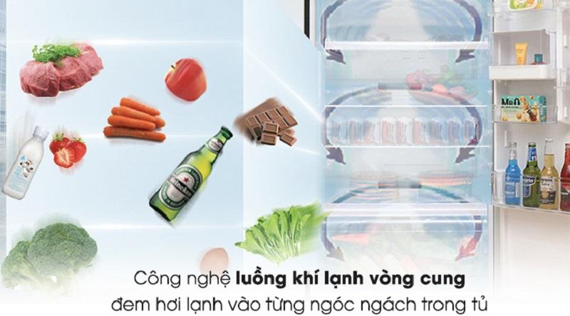 Công nghệ khí lạnh vòng cung làm lạnh nhanh hơn - Tủ lạnh Toshiba Inverter 468 lít GR-HG52VDZ XK