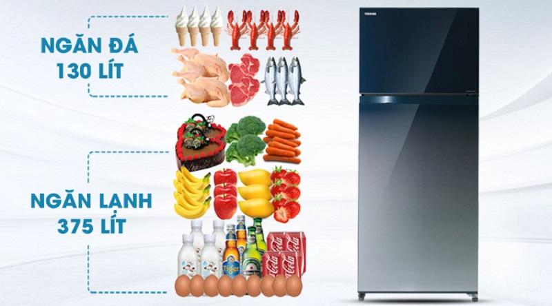 Dung tích lớn, đáp ứng tốt nhu cầu bảo quản - Tủ lạnh Toshiba Inverter 505 lít GR-HG55VDZ GG