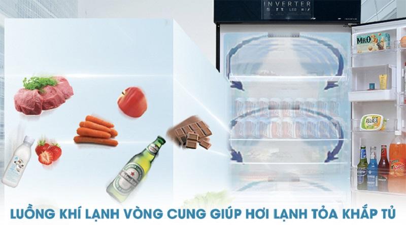 Hệ thống khí lạnh vòng cung làm lạnh tốt hơn - Tủ lạnh Toshiba Inverter 505 lít GR-HG55VDZ GG