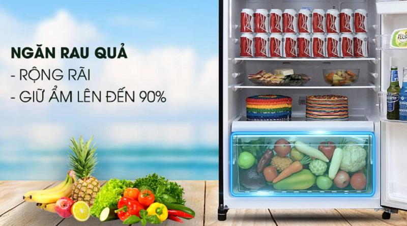 Ngăn rau quả dung tích lớn, giữ ẩm tốt - Tủ lạnh Toshiba Inverter 505 lít GR-HG55VDZ GG