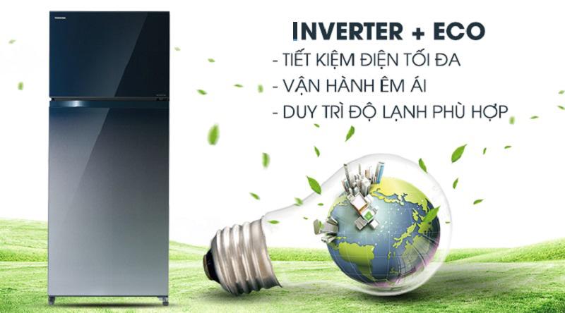 Công nghệ tiết kiệm điện Inverter + Eco mode - Tủ lạnh Toshiba Inverter 505 lít GR-HG55VDZ GG