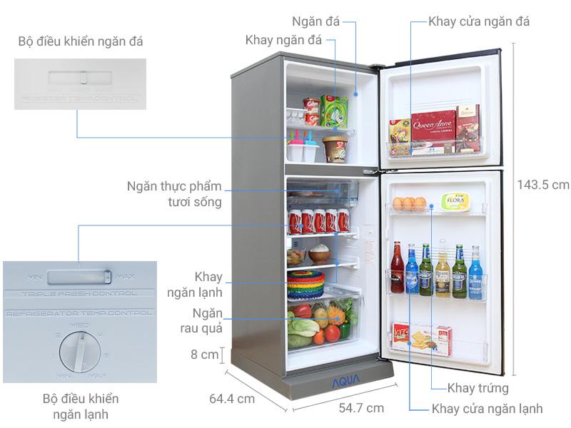 Thông số kỹ thuật Tủ lạnh Aqua 204 lít AQR-I226BN