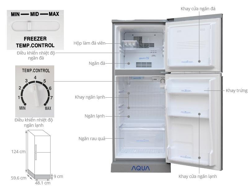 Thông số kỹ thuật Tủ lạnh Aqua 130 lít AQR-145BN SS