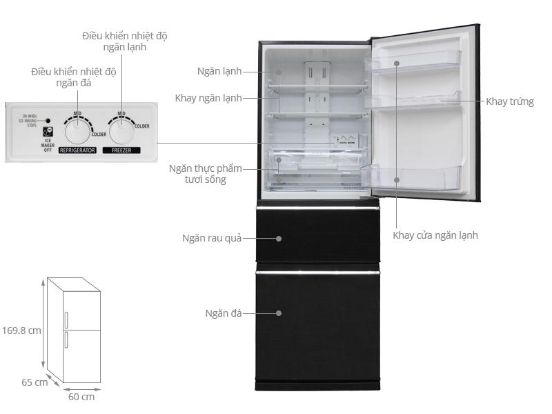 Thông số kỹ thuật Tủ lạnh Mitsubishi Electric Inverter 326 lít MR-CX41EJ-BRW-V
