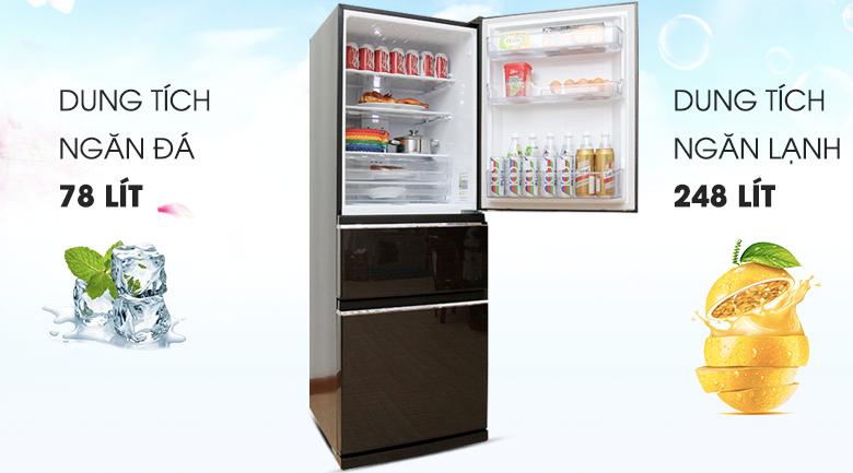 Dung tích 326 lít - Tủ lạnh Mitsubishi Electric Inverter 326 lít MR-CX41EJ-BRW-V