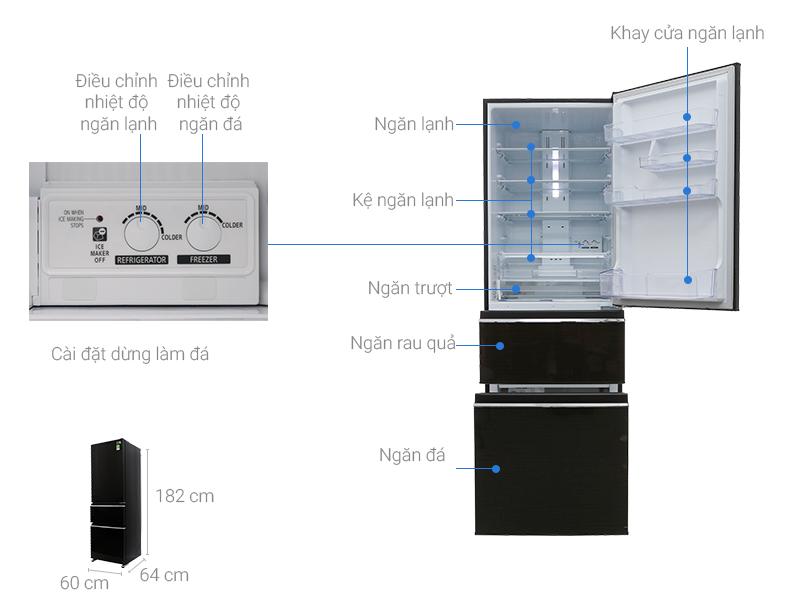 Thông số kỹ thuật Tủ lạnh Mitsubishi Electric Inverter 358 lít MR-CX46EJ-BRW-V