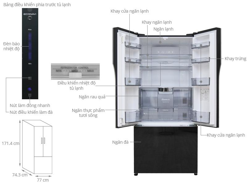 Thông số kỹ thuật Tủ lạnh Panasonic 491 lít NR-CY557GKVN