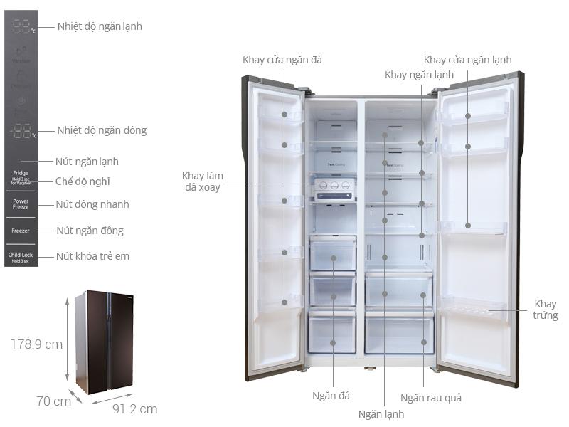 Thông số kỹ thuật Tủ lạnh Samsung Inverter 548 lít RS552NRUA9M/SV