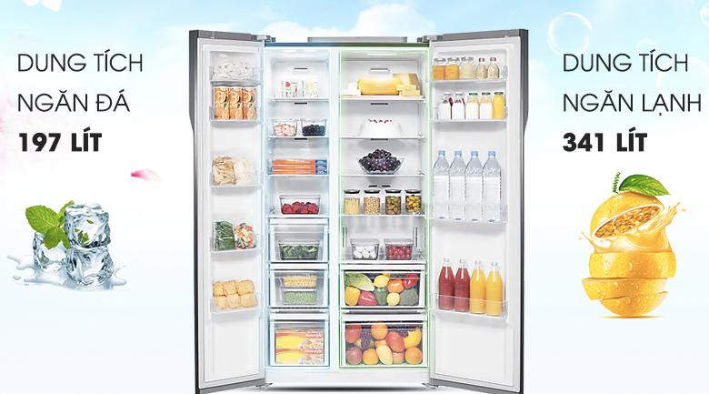 Dung tích 548 lít - Tủ lạnh Samsung Inverter 548 lít RS552NRUA9M/SV