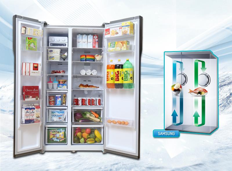 Tủ lạnh Samsung RS552NRUA9M/SV còn được trang bị hệ thống 2 dàn lạnh riêng biệt