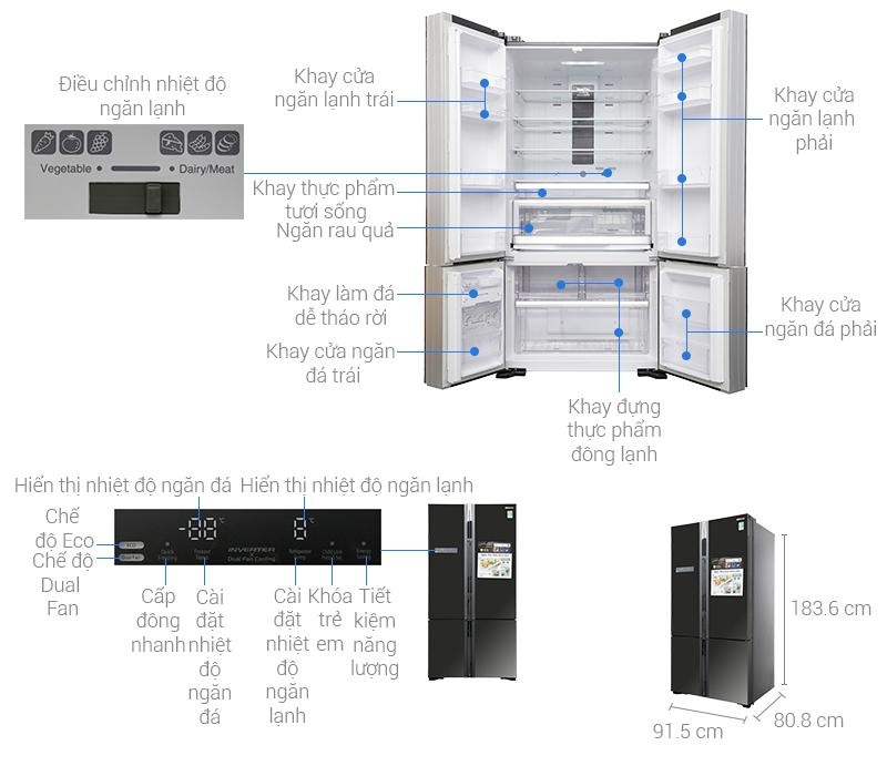 Thông số kỹ thuật Tủ lạnh Hitachi Inverter 640 lít WB800PGV5 GBK