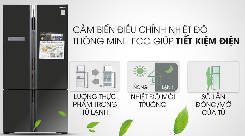Cảm biến Eco hỗ trợ tối ưu năng lượng tốt hơn - Tủ lạnh Hitachi Inverter 640 lít WB800PGV5 GBK