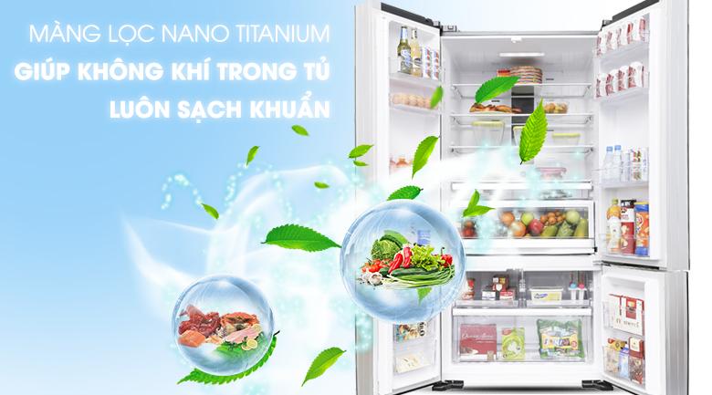 Kháng khuẩn, khử mùi với màng lọc Nano Titanium - Tủ lạnh Hitachi Inverter 640 lít WB800PGV5 GBK