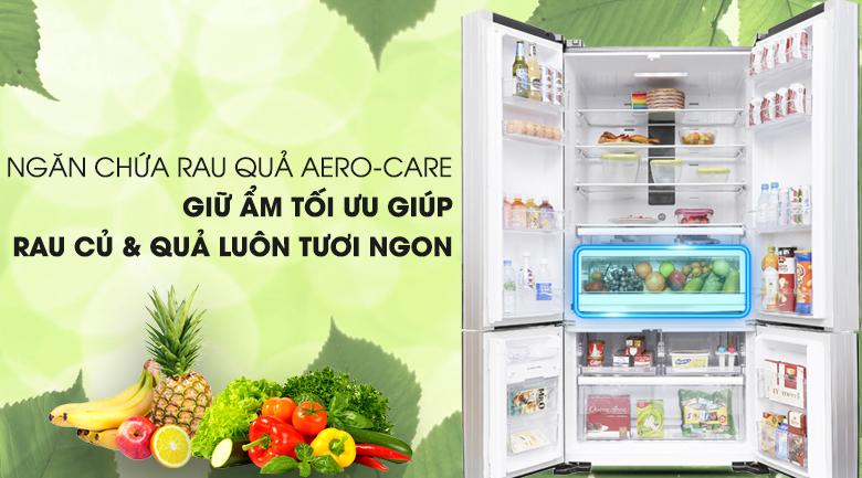 Bảo quản rau củ quả tươi ngon với ngăn Aeron - Care - Tủ lạnh Hitachi Inverter 640 lít WB800PGV5 GBK