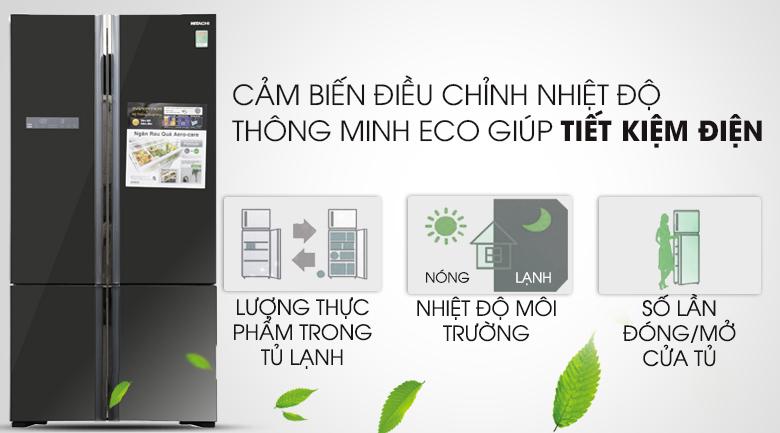 Cảm biến Eco thông minh - Tủ lạnh Hitachi Inverter 640 lít WB800PGV5