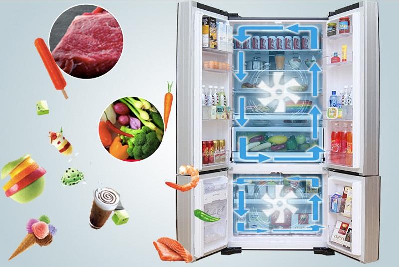 Hệ thống làm lạnh kép hiệu quả, giúp thực phẩm không bị lẫn mùi vào nhau