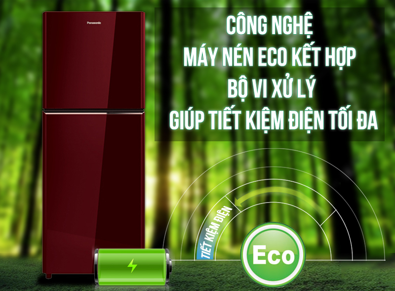 Tủ lạnh Panasonic 186 lít NR-BN201GAVN với máy nén Eco tiết kiệm điện