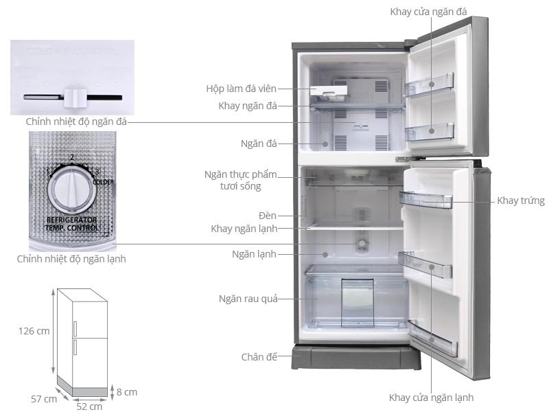 Thông số kỹ thuật Tủ lạnh Panasonic 167 lít NR-BA188PSVN