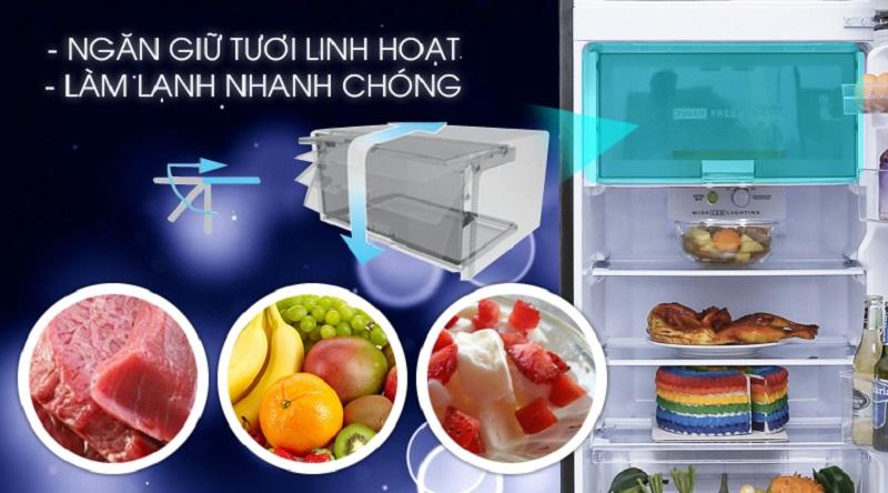 Ngăn làm lạnh nhanh, không đóng tuyết - Tủ lạnh Sharp Inverter 241 lít SJ-X251E-SL