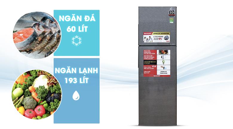 Dung tích 271 lít - Tủ lạnh Sharp Inverter 271 lít SJ-X281E-DS