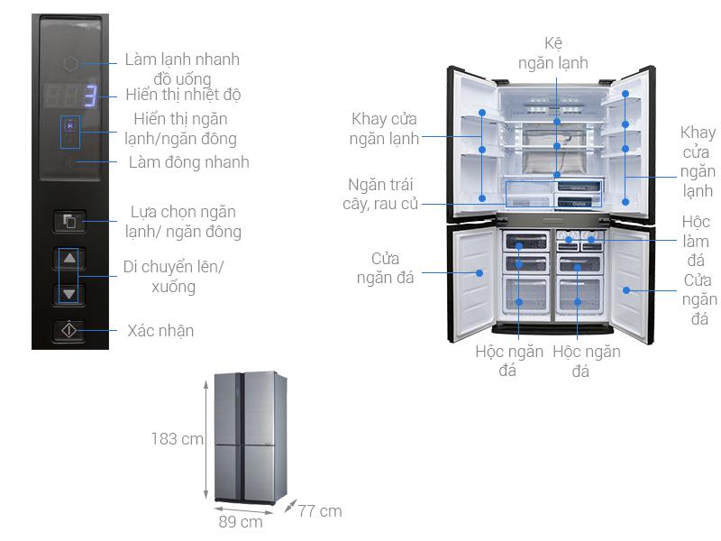 Thông số kỹ thuật Tủ lạnh Sharp Inverter 605 lít SJ-FX680V-ST
