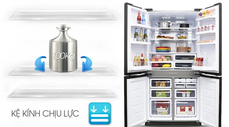 Lưu trữ lượng lớn thực phẩm với khay kệ làm từ kính chịu lực - Tủ lạnh Sharp SJ-FX680V-ST