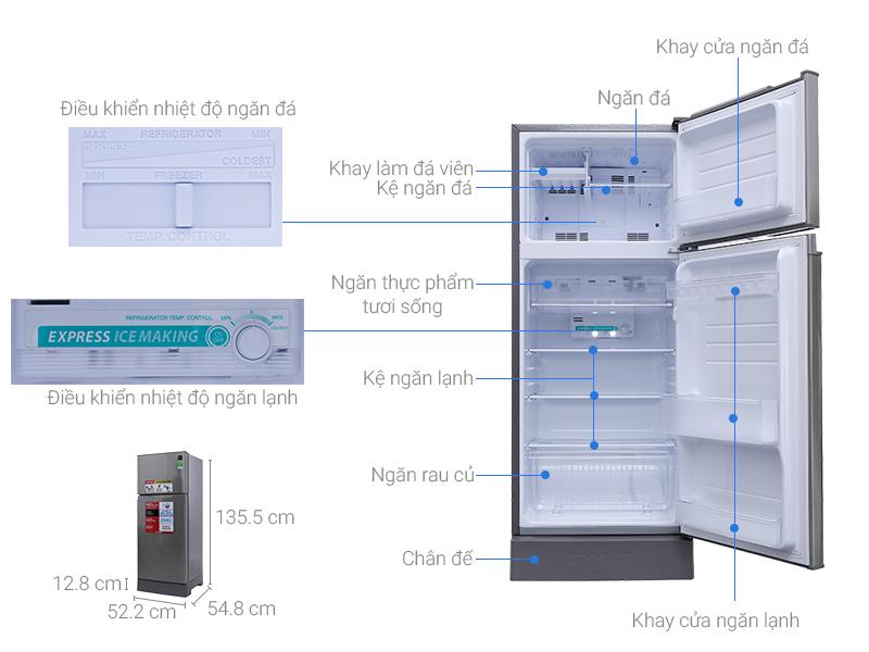 Thông số kỹ thuật Tủ lạnh Sharp 180 lít SJ-198P-CSA