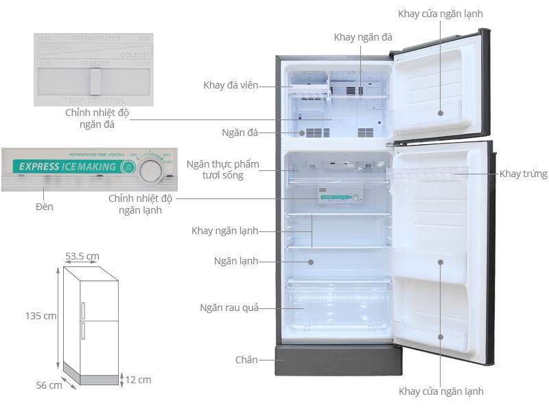 Thông số kỹ thuật Tủ lạnh Sharp 165 lít SJ-195E-DSS