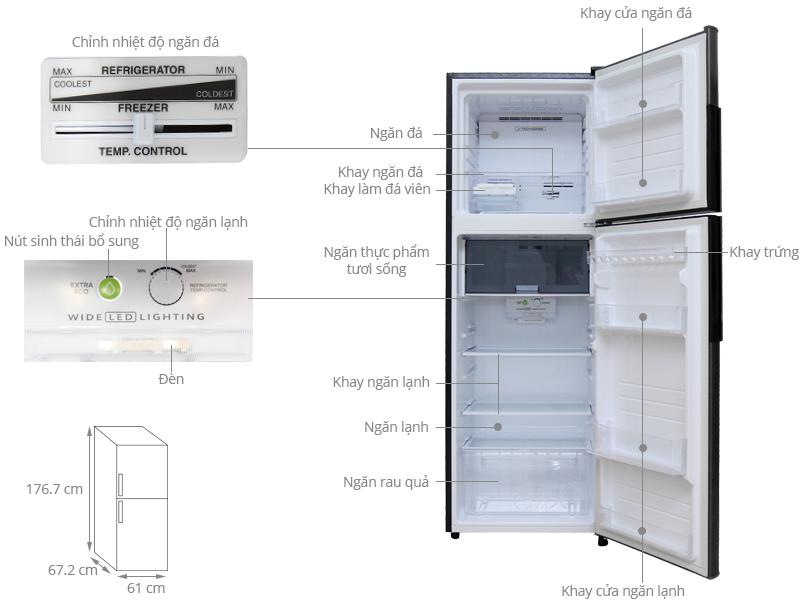 Thông số kỹ thuật Tủ lạnh Sharp Inverter 342 lít SJ-X346E-DS