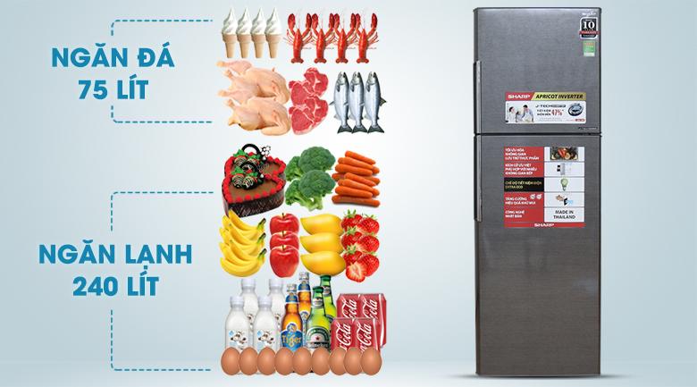 Dung tích 342 lít - Tủ lạnh Sharp Inverter 342 lít SJ-X346E-DS