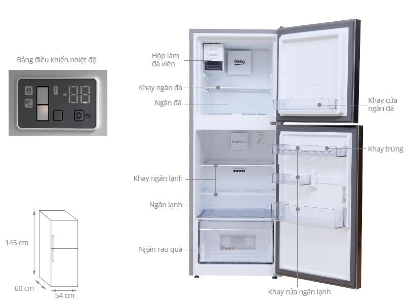 Thông số kỹ thuật Tủ lạnh Beko 230 lít RDNT230I50VZX