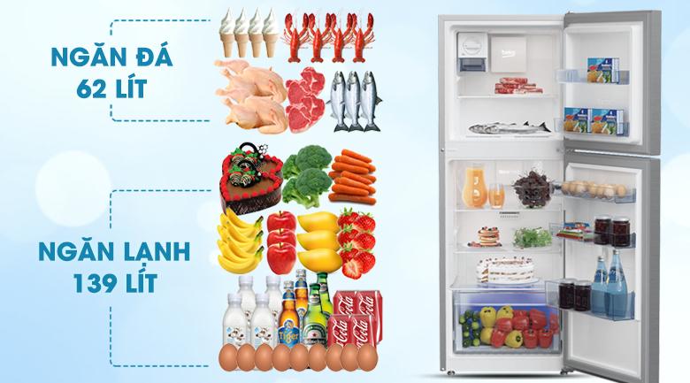 Dung tích - Tủ lạnh Beko RDNT230I50VZX